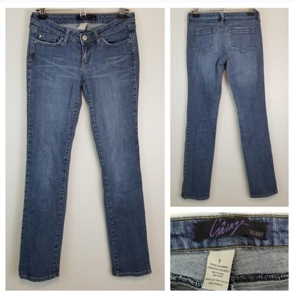 Garage 7 Faded Dark Wash Stretchy Skinny Jeans
